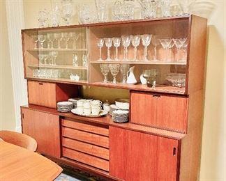 Danish modern teak china cabinet