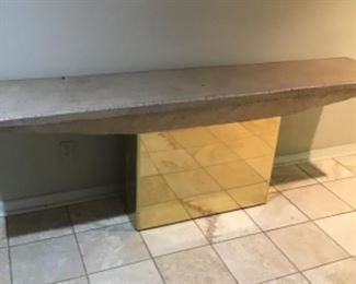 Large Modern brass base stone top console table