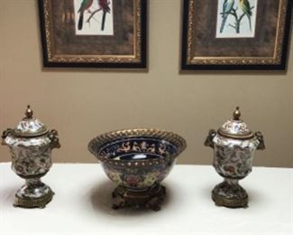 Large porcelain bronze mounted center bowl and pair of urns, pair of bird prints