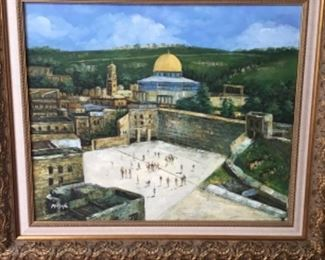 Wailing Wall scene, oil on canvas, signed