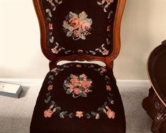 Antique needlepoint side chair 175