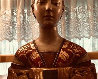 Antique Italian hand painted terra-cotta bust the princess of Aragon after Francisco Laurana 2000