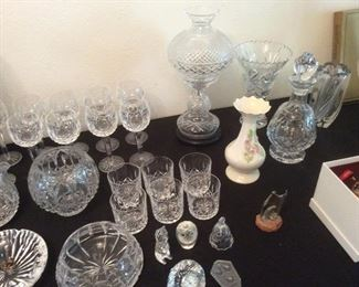 WATERFORD. LAMP, DECANTOR , GLASSSES