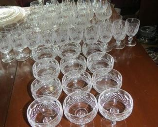 59 TOTAL PIECES OF WATERFORD.  THE PATTERN IS COLLEEN AND IT IS BEAUTIFUL.  ALL FOR EARLY SALE.