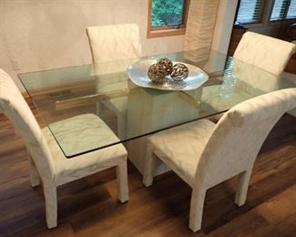 GLASS TOP SQUARE BASE WITH 4 - PARSONS CHAIRS