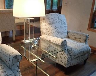 GLASS SIDE TABLE - SILVER LAMP - RECLINER