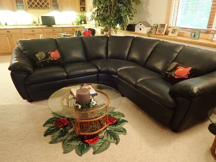 DARK NAVY BLUE ROUND BACK LEATHER SECTIONAL - NEW CONDITION