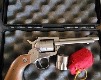 Silver wood handle revolver