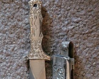 Vintage ornate silver dagger and holster