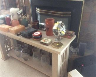 Liked oak sofa table and decor items