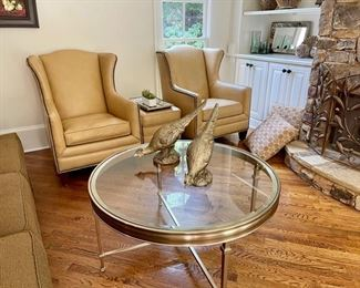 Henredon wingback leather nail head chairs, glass top and metal coffee table