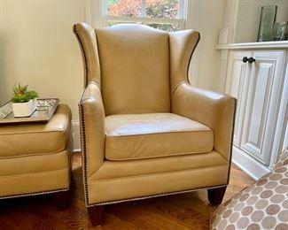Henredon wingback leather nail head chair