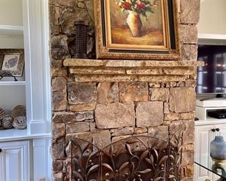 Oil painting, fireplace screen