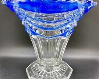 Clear Cobalt Glass Vase