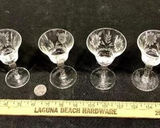 Floral Crystal Cordial Glasses