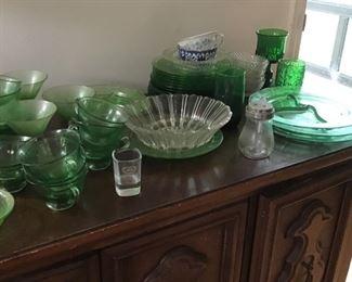 Green depression glass.