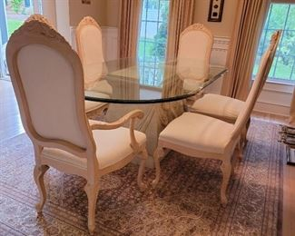 table: 29 x 83 x 45, armchairs (2): 46 x 24 x 20, side chairs (4): 46 x 21 x 20, rug not available