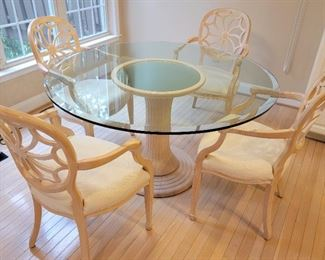 $750 set.      table: 30 x 54, chairs: 38 x 24 x 20