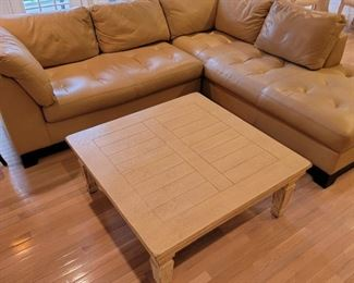 $195 (coffee table).    $750 (sectional).    35 x 100 x 91, coffee table: 17 x 41