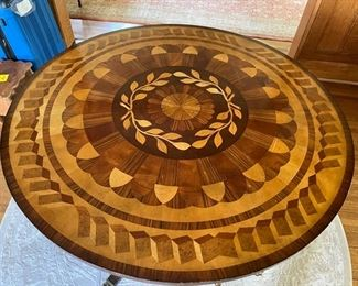"""Marquetry Drum Entry Table with Brass Claw Feet, 33.5""""H 48"""" Diameter. Photo 1 of 3"""