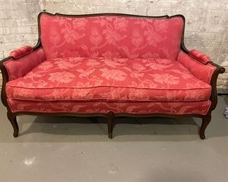 """Antique Red Settee, 54""""W 32""""D."""