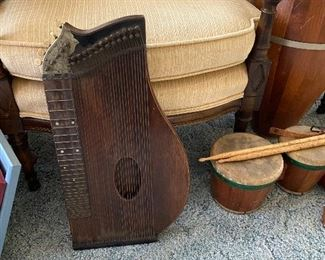 Antique 33-string Zither (Lap Harp)