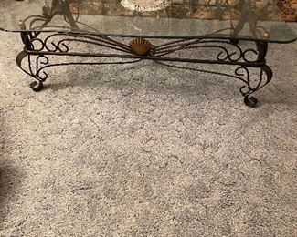 Beautiful wrought iron & glass coffee table--extra large