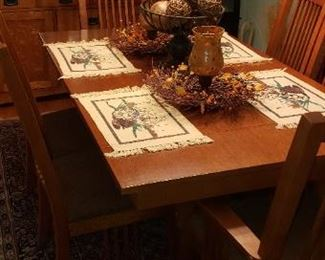 Beautiful mission style dining table and china cabinet