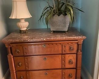 Calling all Eastlake fans - beautiful pink marble top 3 drawer dresser.  They don't make furniture like this anymore!  What a beautiful set!!