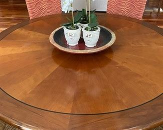 """Clients also will include a custom made magnetic table pad - If you are ever worried about hot plates, spilled milk, or glass rings...  we have you covered!!  Beautiful Table shown measures 68"""" round and with the 24"""" leaf inserted, you have the option to have a 68x92 oval."""
