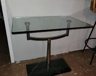 """$35, Chrome and glass end table, 27"""" x 18x"""" x 24.5""""H"""