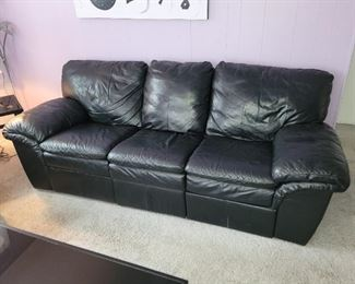 """$300, Dual recliner Black Leather couch, 96"""" long"""