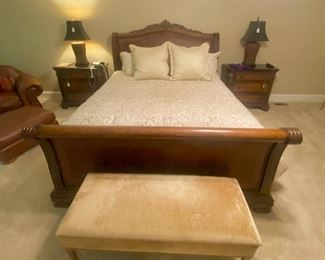 King bed carved and leather head board