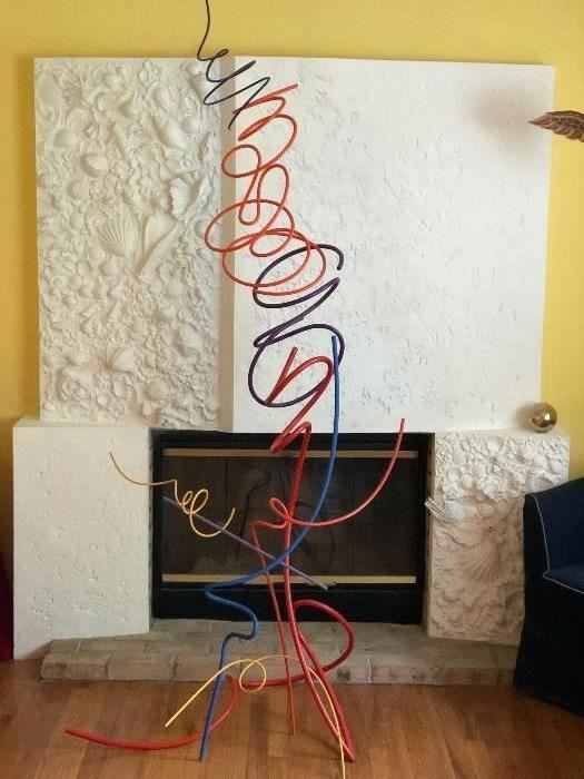 """Elegant free flowing painted steel sculpture """"Calligraphic Dance"""" ca. 1999, 6' 10"""" tall, by 34"""" wide. John Clague (Cleveland  1928-2004)         From the artist's personal collection.   Please go to the Artists Archives of the Western Reserve website to see a short film by Chuck Mintz, of Sarah chronicling John's career."""