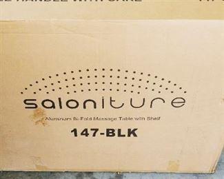 Saloniture Aluminum Bi Fold Message Table with Shelf NIB