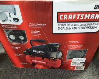 New in box 3 gallon Craftsman air compressor and accessories