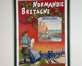 "NORMANDIE BRETAGNE POSTER   Framed French poster, ""Chemins de Fer de L'Ouest"" / ""Bains de Mer""; overall 43-1/2 x 31-1/2 in."