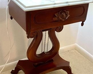 """4- $295 Pair of Mahogany marble top Lyre table 18""""L x 14""""D x 27""""T"""