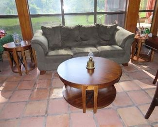 Couch - Coffee Table with 2 Matching Side Tables - Iron Detail