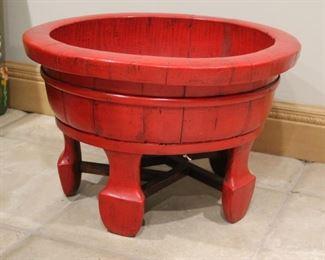 """#9.  $100.00 Red wood bowl on legs 14"""" X 21.5"""" diameter"""