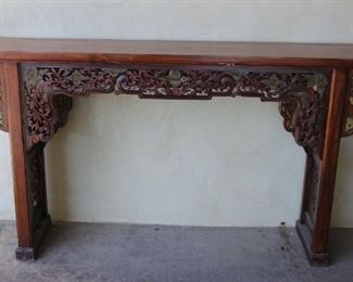 """#15.  $1,200.00.   Lovely hand carved alter table 34"""" X 61"""" X 13"""""""