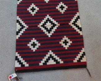 Native American woven rug w/tag attached
