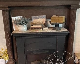 Antique Mantle and Electric Fireplace