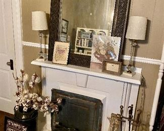 Ornate Wall Mirror, Fireplace Accessories, Lamps