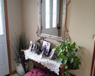 Entry mirror with table & stool