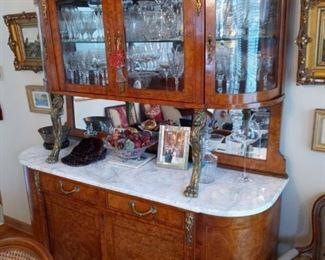 Old world antique hutch/curio