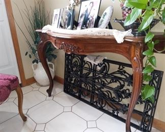 Entry table (close-up detail) / decorative iron panels