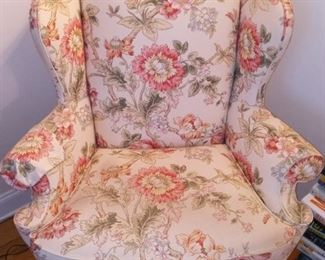 Wingback chair with floral print