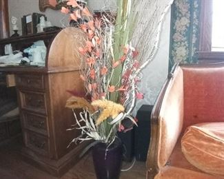 Vase with floral arrangement