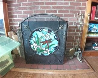 Fireplace screen with dragonfly motif